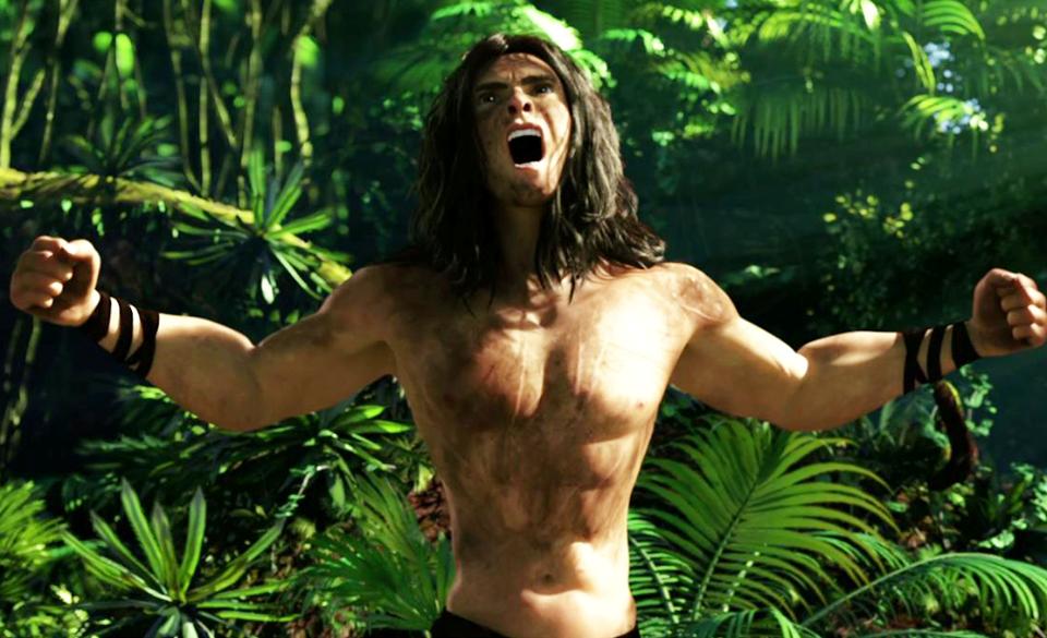 Tarzan si esibisce nel suo celebre richiamo