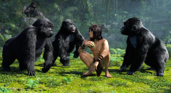 Tarzan insieme alla sua famiglia adottiva
